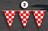 red and white checkerboard triangle pennant streamer flags strands