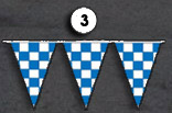 blue and white checkerboard triangle pennant streamer flags strands