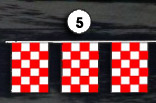 red and white checkerboard square pennant streamer flags strands