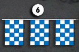 blue and white checkerboard square pennant streamer flags strands