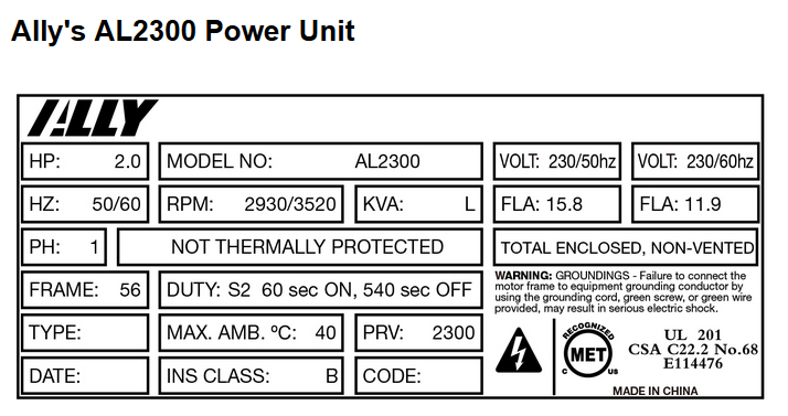 Atlas ALLY AL3500 Power Unit