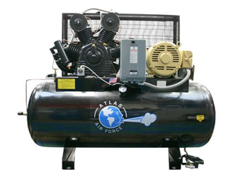 Atlas® Automotive Equipment Air Force AF15 PLUS Two Stage Three Phase 120 Gallon 15HP Motor Air Compressor w/Mag Starter - ATAF15Plus
