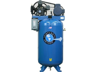 Atlas® Automotive Equipment Air Force AF7 Two Stage Single Phase 80 Gallon 5HP Air Compressor w/Mag Starter - ATAF7