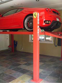 BendPak car storage lift - red Ferrari