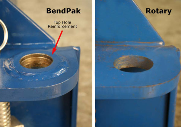 BendPak and Rotary Carriage Arm Attachment Location Comparison