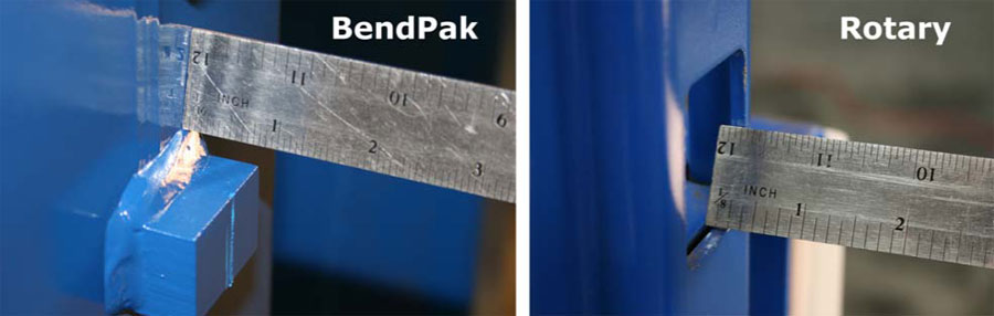 BendPak and Rotary Carriage Safety Lock Thickness Comparison