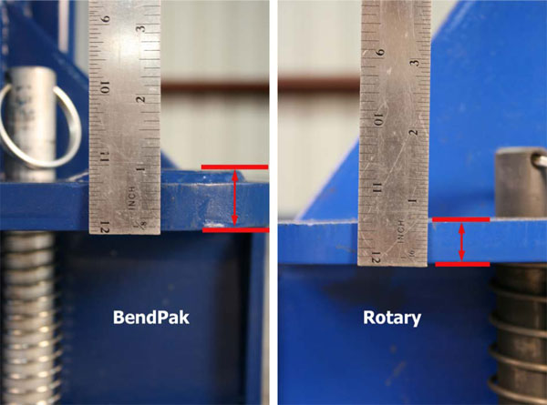 BendPak and Rotary Carriage Top Plate Thickness Comparison