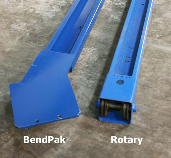 BendPak and Rotary Top Beam Top View Comparison