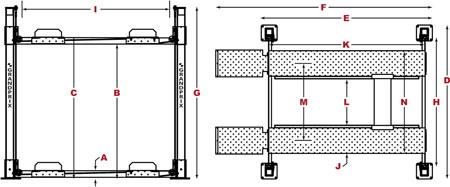 BendPak GrandPrix GP-9 series specs diagram