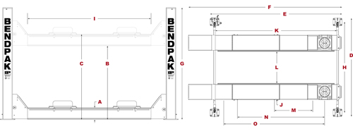 BendPak HDS-18AE Specifications Diagram