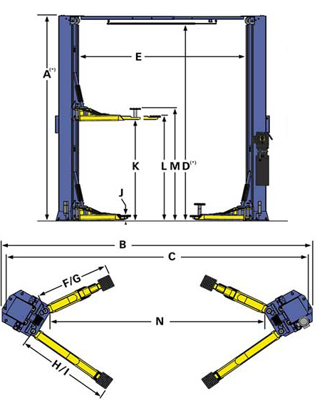 BendPak xpr 10-series 2 post lift specifications
