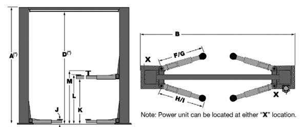 BendPak XPR-12CL-LTA-192 Specs Diagram