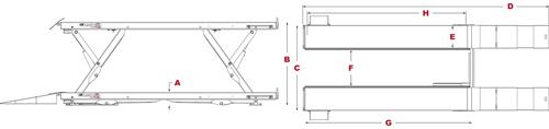 BendPak XR-12000LA Specifications Diagram