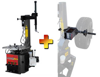 CEMB SM825EVO / SM825EVOAIR Swing Arm Car/SUV Tire Changer & EZ1 Digital Wheel Balancer Combo