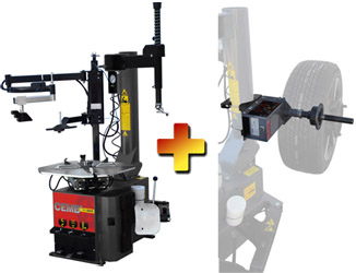 CEMB SM825PA Swing Arm Car/SUV Tire Changer w/Low Profile Press Arm & Manual Bead Pressing Tool & EZ1 Digital Wheel Balancer Combo