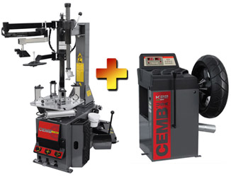 CEMB SM900+PA Swing Arm Motorcycle & ATV Tire Changer w/Low Profile Press Arm & K22 Motorcycle Wheel Balancer Combo