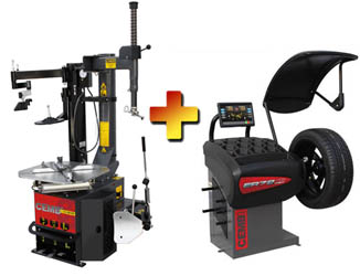 CEMB SM915atiPA Swing Arm Car & Light Truck Tire Changer w/Low Profile Press Arm &  ER72TD Spotter Digital Wheel Balancer  Combo