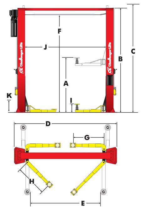 CL10V3-DPC Two Post Lifts specs diagram