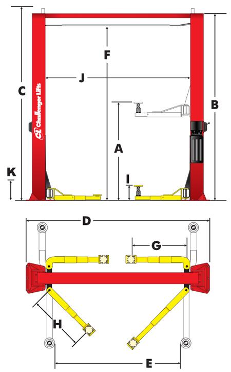 CL10V3 Two Post Lifts specs diagram