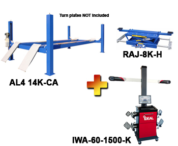 AL4-14K-CA-IWA-60-1500-K Includes:  Auto Lift AL4-14K-CA 4 Post Alignment Rack, iDeal IWA-60-1500-K 3D Image Wheel Alignment System, and one Auto Lift RAJ-8K-H Rolling Air Jack