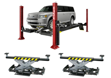 Challenger 4015EFO 4015series Open Front Flat Deck Four Post Lift 15,000 lbs & Qty 2 RJ7.5 7,500lb Rolling Jack