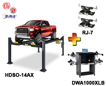 HDSO-14AX-Combo, Includes BendPak HDSO-14AX 4 Post Alignment Rack, CEMB DWA1000XLB Wireless Basic Wheel Alignment System, BendPak RJ-7 Rolling Bridge Jack