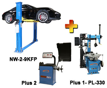 "NW-2-9KFP-Combo-2 Includes: Nationwide NW-2-9KFP 2 Post Symmetric Floor Plate Car Lift 9,000 lbs, Talyn Plus 1 Tire Changer w/Adjustable Clamps & PL330 Assist Arm, & Talyn Plus 2 Wheel Balancer with 40"" Max. Tire Diameter"