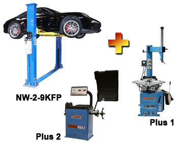 "NW-2-9KFP-Combo-1 Includes: Nationwide NW-2-9KFP 2 Post Symmetric Floor Plate Car Lift 9,000 lbs, Talyn Plus 1 Tire Changer w/Adjustable Clamps, & Talyn Plus 2 Wheel Balancer with 40"" Max. Tire Diameter"
