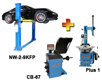 NW-2-9KFP-Combo-3 Includes: Nationwide NW-2-9KFP 2 Post Symmetric Floor Plate Car Lift 9,000 lbs, Talyn Plus 1 Tire Changer w/Adjustable Clamps & Talyn CB-67 Highly Accurate Wheel Balancer w/European Design