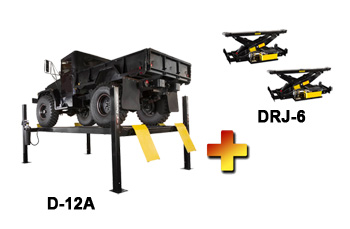 Dannmar D-12/A Four Post Alignment Lift 12,000 lb w/ Set of 2 DRJ-6 Rolling Bridge Jack