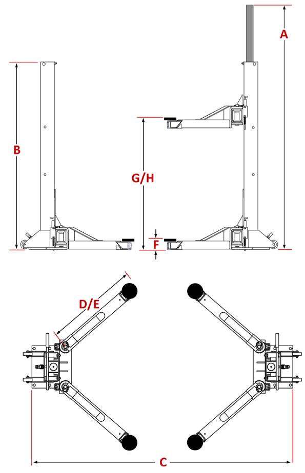 Dannmar M-6 ALI Portable 6,000 lb 2 Post Car Lifting System