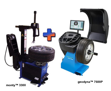 Hofmann M3300110B 3300 Tilt Tower Tire Changer & EEWB765AP Geodyna™ 7600p  Wheel Balancer w/Power Clamp Combo - HOF-M3300110B-EEWB765AP