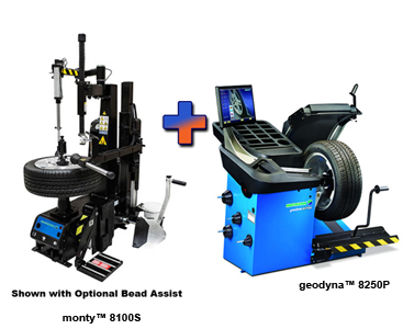 Hofmann monty™ 8100S Center Post Tire Changer & geodyna™ 8250P Premium Wheel Balancer Combo - HOF-EEWH768AC-EEWB746AS