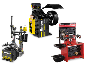 Ranger R76ATR NextGen™ Tilt-Back Tire Changer w/Assist Tower, DST30P Wheel Balancer w/36mm Shaft & RL-8500 Combination Brake Lathe w/Bench & Std Tooling Combo