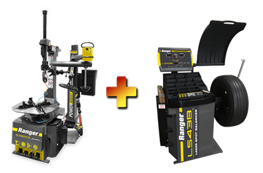 Ranger R76ATR NextGen™ Tilt-Back Tire Changer w/Assist Tower & LS43B 3D Quick-Touch™ Laser-Spot™ Wheel Balancer w/36 mm Shaft Combo