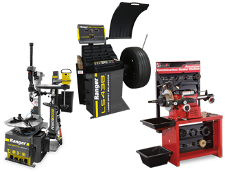Ranger R76ATR NextGen™ Tilt-Back Tire Changer w/Assist Tower, LS43B 3D Quick-Touch™ Laser-Spot™ Wheel Balancer w/36 mm Shaft, & RL-8500 Combination Brake Lathe w/Bench & Std Tooling Combo