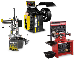 Ranger R980AT NextGen™ RimGuard™ Tire Changer & DST30P Wheel Balancer w/36mm Shaft & RL-8500 Combination Brake Lathe w/Bench & Std Tooling Combo
