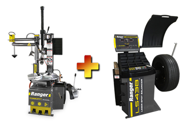 Ranger R980AT NextGen™ RimGuard™ Tire Changer & LS43B 3D Quick-Touch™ Laser-Spot™ Wheel Balancer w/36 mm Shaft Combo