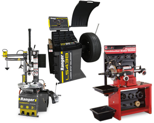 Ranger R980AT NextGen™ RimGuard™ Swing-Arm & Single Power Assist Tire Changer, LS43B 3D Quick-Touch™ Laser-Spot™ Wheel Balancer w/36 mm Shaft & RL-8500 Combination Brake Lathe w/Bench & Std Tooling Combo