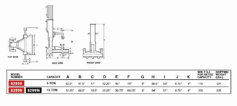 norco 82999i 10 ton capacity air lift jack
